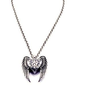 Jewelry - SOLID PEWTER FLYING WING HEART PENDANT NECKLACE